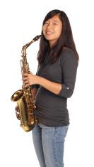 Smiling sax girl