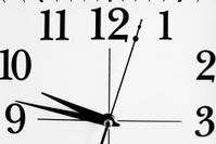 top half of black and white clock face