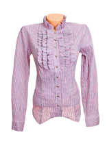 Elegant, stylish lilac shirt on a white.