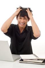 Frustrated student doing homework