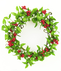 Mistletoe and berry wreath on red panelled background stock photos