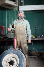 Farmer in his workshop