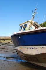 Fishing vessel in port, Cornwall, England