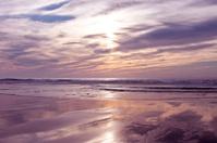 Beautiful purple sunset at the dutch coast in Netherlands