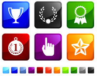 first place award winning royalty free vector icon set stickers