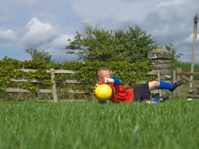 Boy training goalkeeping