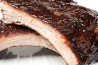 Slow Smoked Babyback Pork Ribs Up Close