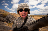 Special ops military soldier yelling