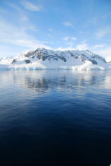 antarctic landscape over the sea