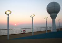 Sunset on deck of a cruiser