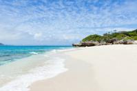 Deserted white sand tropical beach on coral island, Okinawa, Jap