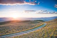Prairie Road at Sunset