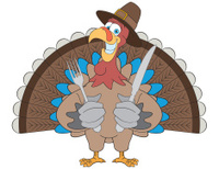 Thanksgiving Turkey with Knife and Fork