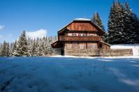 Wooden ski hut in the alps