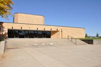 large sidewalk by school building