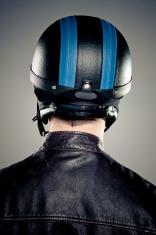 Retro biker portrait.
