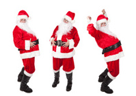 Three Santa Clauses In Different Poses
