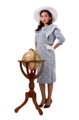 Retro Girl with Globe