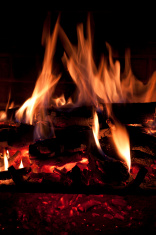 fire logs and embers burning