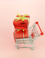 gift box with shopping carts