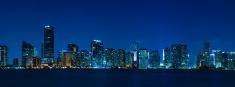 Miami skyline night panorama