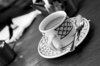Cup of tea on cafe, diner table black & white