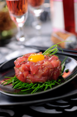 "Asian Tuna Tartare ""Yukhoe"" Served on Festive Table"