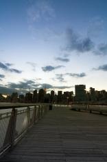 City skyline at dusk