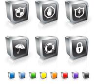 Protection Symbols 3D vector icon set with Metal Rim