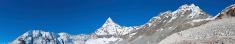 Sherpa porters hiking over Amphulapcha high altitude mountain pa