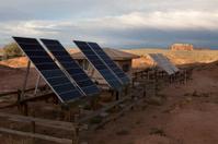 Sunset and solar panels in Goblin Valley State Park Utah
