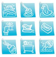 Bathtime icon post it notes