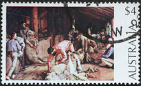 old fashioned sheep shearing on an Austalian stamp