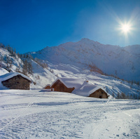 Landscape mountain winter alpine hut