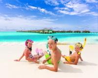 Three kids on the beach