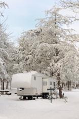 Winter rv camping scene