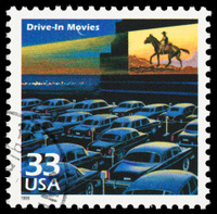 Drive-in movies postage stamp
