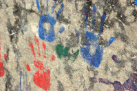 red green blue hands