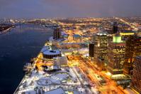 Night View of Detroit, Michigan USA