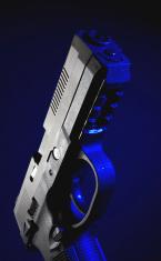 Handgun with a blue gel