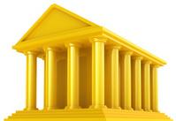 Golden Classical Greek building