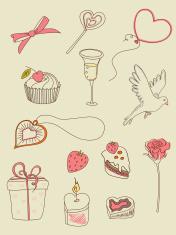 doodle Valentine's Day icons