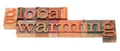 global warming phrase in letterpress type
