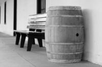 Oak Barrel and Bench
