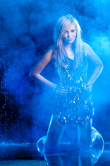 Teenage girl on rainy  and smoky background
