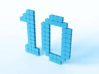 Blue Digital Number Ten