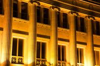Roman Greek Building Pillars and Columns Architecture at Night