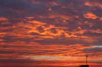 Sunrise with deep orange colors.