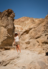 Tourist on a trail  at Death Valley, California