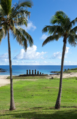 Anakena beach with Moai on Easter Island Chile